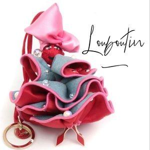 Louboutin Purse Charm Red Heels Satin Denim Doll